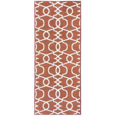 Rose Collection Contemporary Geometric Trellis Design Orange 2 ft. x 7 ft. Non-Skid Runner Rug