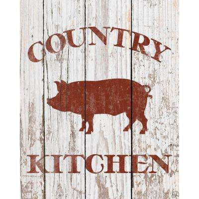 "20 in. x 24 in. ""Country Kitchen Pig on White"" Barnwood Framed Wall Art Print"