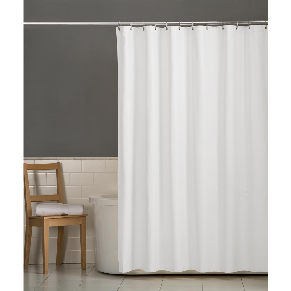 White Hookless Shower Curtain Premium Polyester Washable Fabric Magnetic Bottom