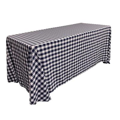 """""""90 in. x 132 in. White and Navy Polyester Gingham Checkered Rectangular Tablecloth"""""""