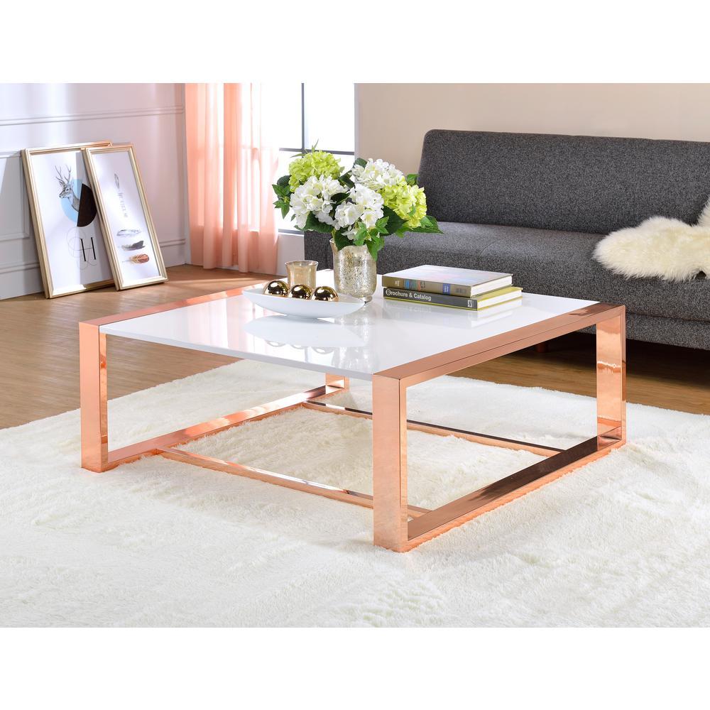 rose gold coffee table ACME Furniture Porviche White High Gloss and Rose Gold Coffee  rose gold coffee table