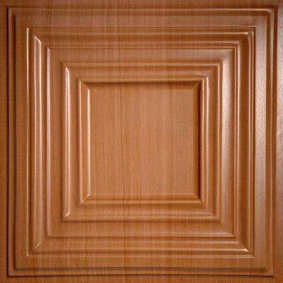 Bistro Faux Wood-Caramel 2 ft. x 2 ft. Lay-in or Glue-up Ceiling Panel (Case of 6)