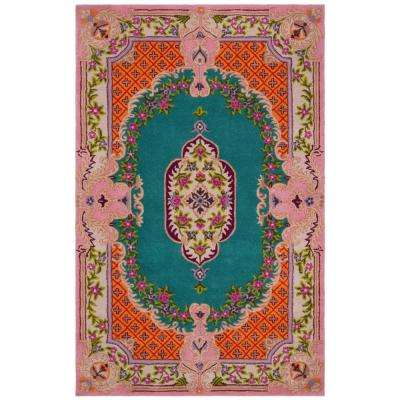 Bellagio Blue/Pink 4 ft. x 6 ft. Area Rug