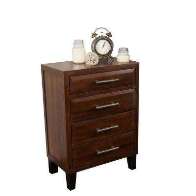 4-Drawer Mahogany Brown Chest