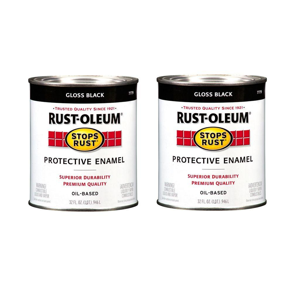 Rust-Oleum Stops Rust 32 oz. Gloss Black Protective Enamel (2-Pack)-DISCONTINUED