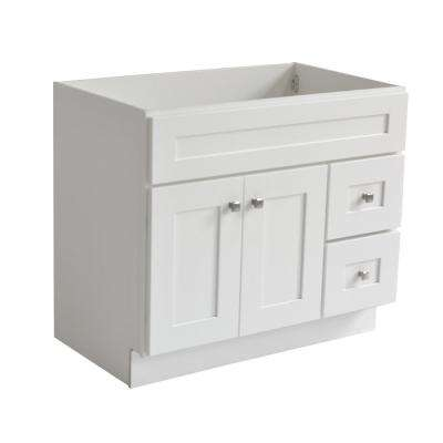 Brookings Ready to Assemble 36 in. W x 21 in. D 2-Door Shaker Style Bath Vanity Cabinet Only in White