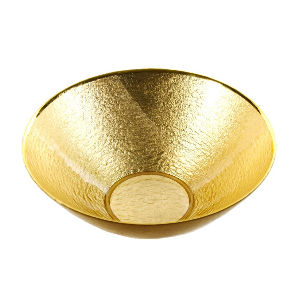 Glamour Gold Leaf 12 in. Handmade Glass Bowl