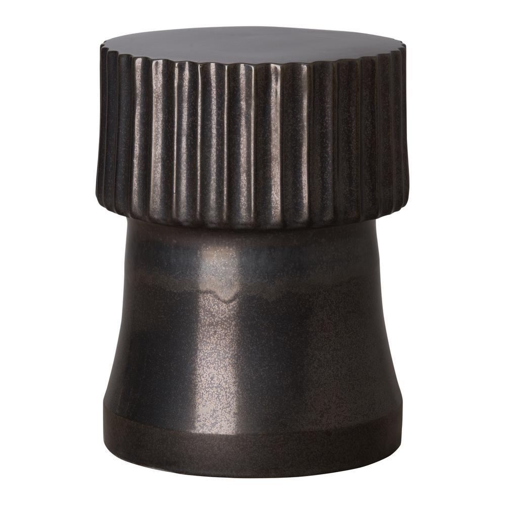 Alex Gunmetal Round Ceramic Garden Stool