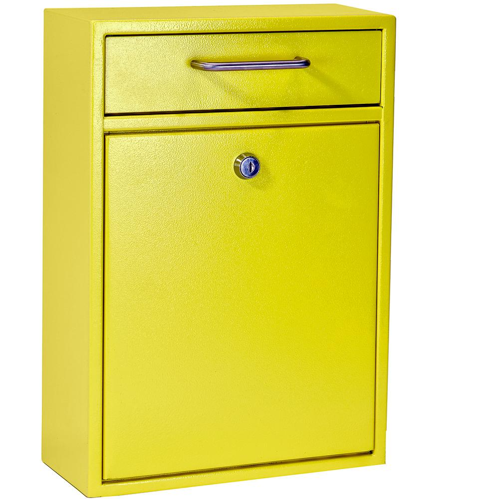 Mail Boss Olympus Locking Wall-Mount Drop Box With High Security Patented Lock, Yellow