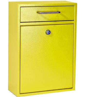 Olympus Locking Wall-Mount Drop Box With High Security Patented Lock, Yellow