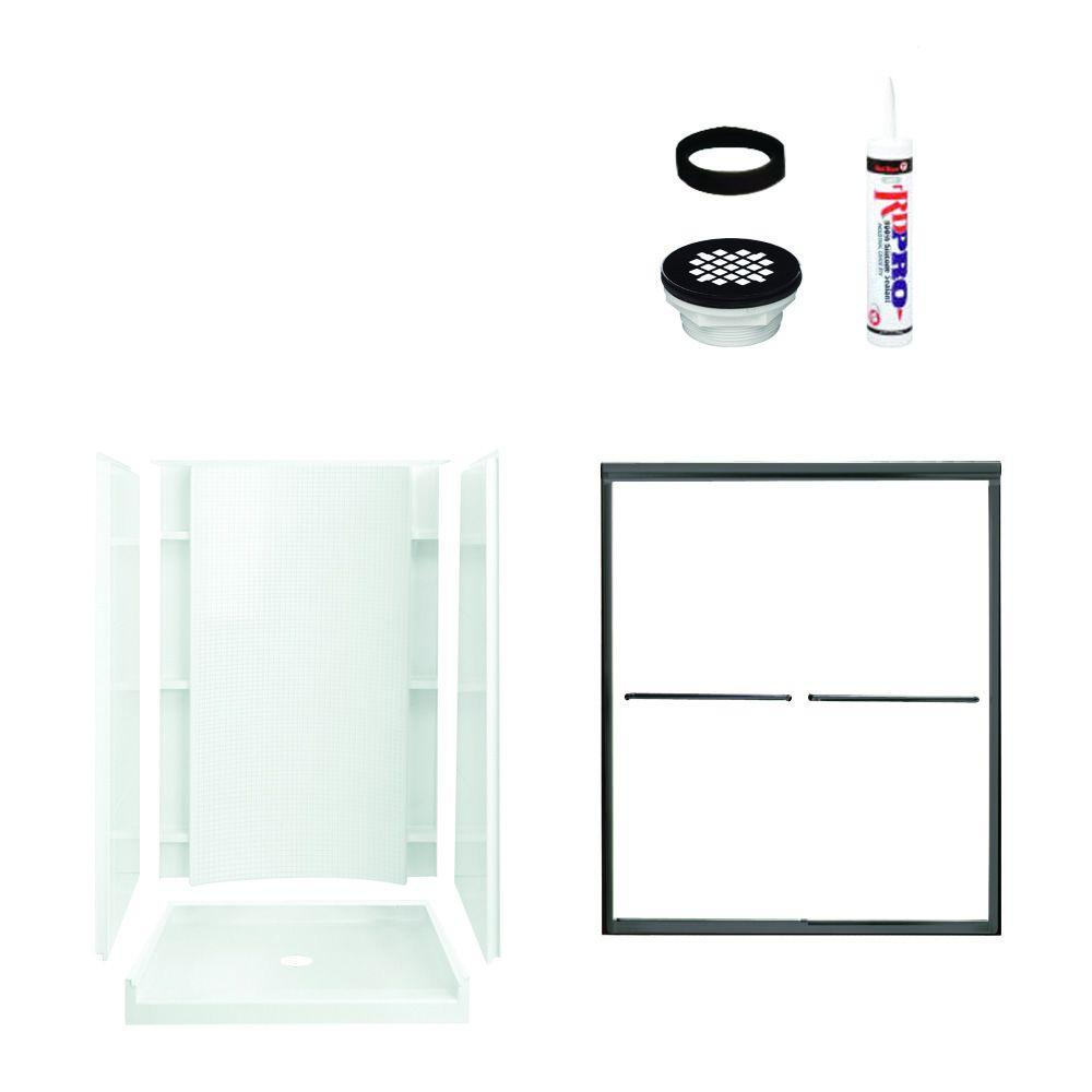 STERLING Accord 36 in. x 48 in. x 77 in. Shower Kit with Shower Door in White/Oil Rubbed Bronze-DISCONTINUED