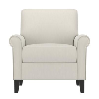 Jean Off-White Alabaster Herringbone Upholstered Rolled Arm Chair
