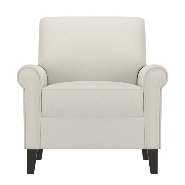 Handy Living Jean Off-White Alabaster Herringbone Upholstered Rolled Arm Chair