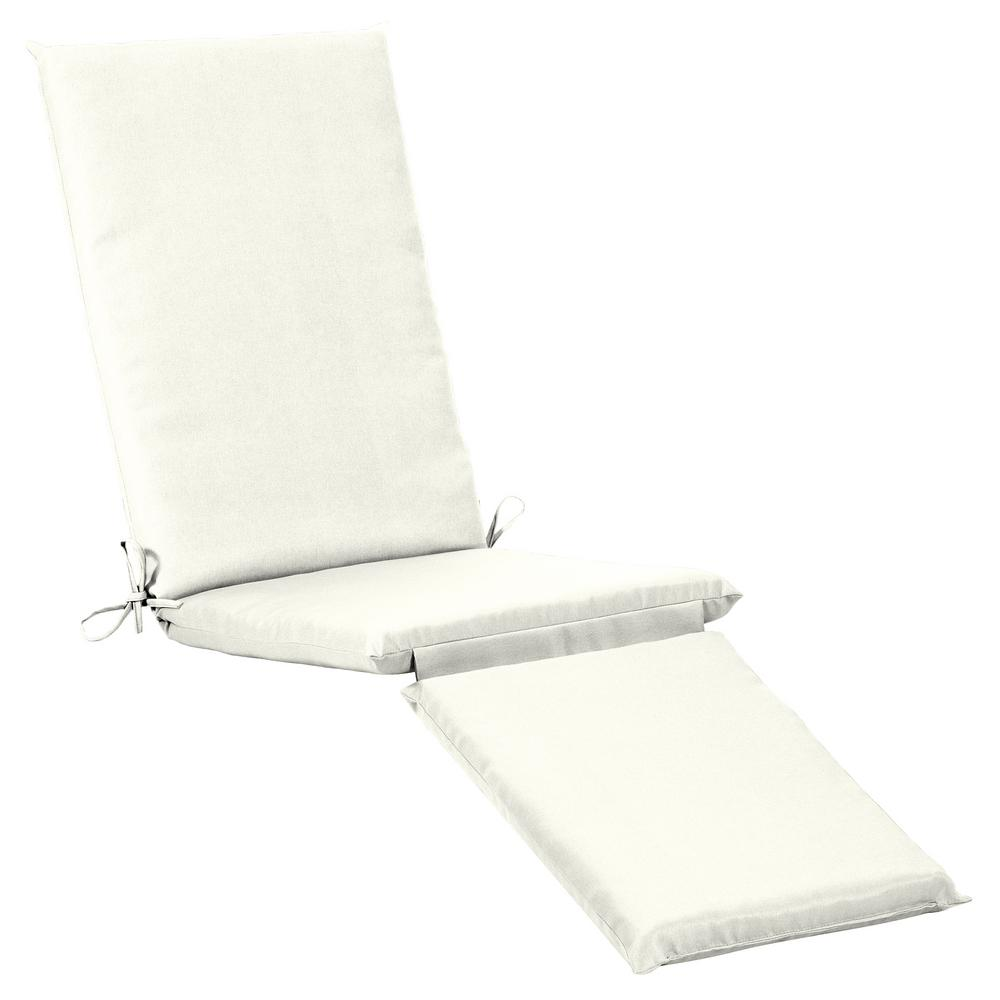 19 x 44.5 Outdoor Chaise Lounge Cushion in Sunbrella Canvas White