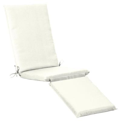 19 x 74 Sunbrella Canvas White Outdoor Chaise Lounge Cushion