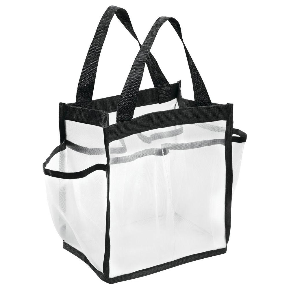 interDesign Shower Caddy Tote in White/Black-04680 - The Home Depot