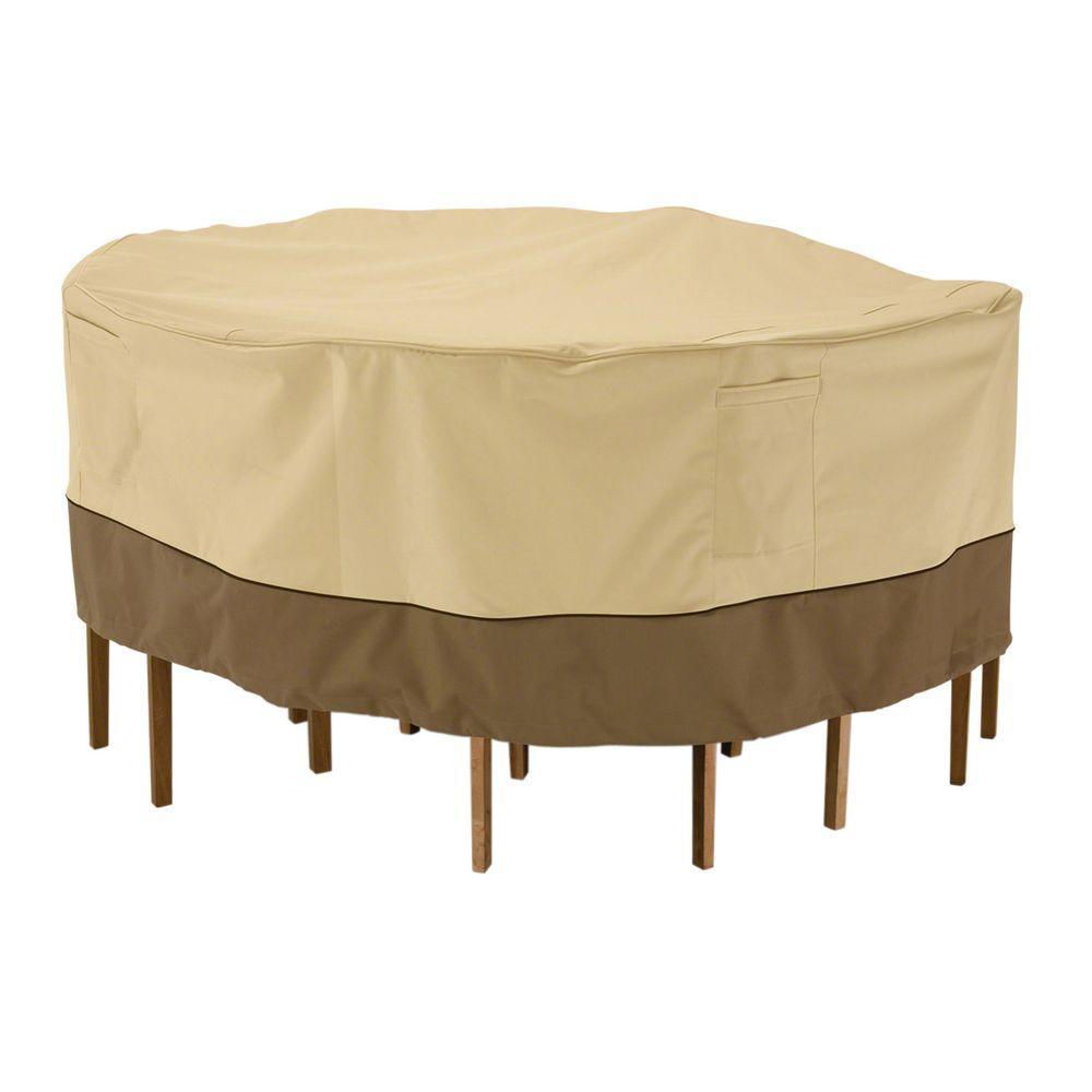 Classic Accessories Veranda Medium, Round Patio Table and Chair Set Cover