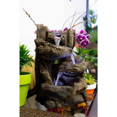 Tiered Log Statue Fountain with LED Lights