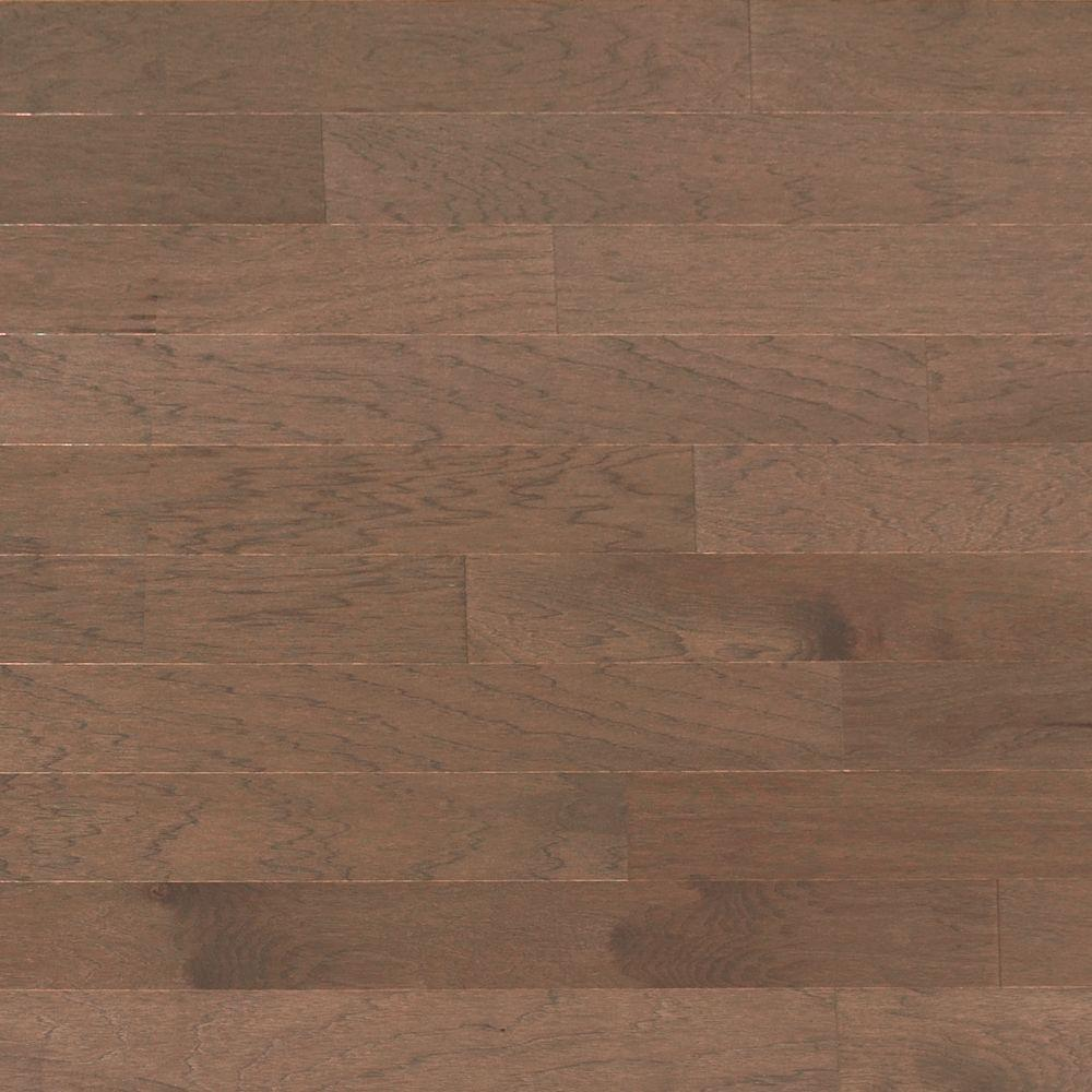 Heritage Mill Take Home Sample Brushed Vintage Hickory Stone Engineered Click Hardwood Flooring 5 In. X 7 In., Grey