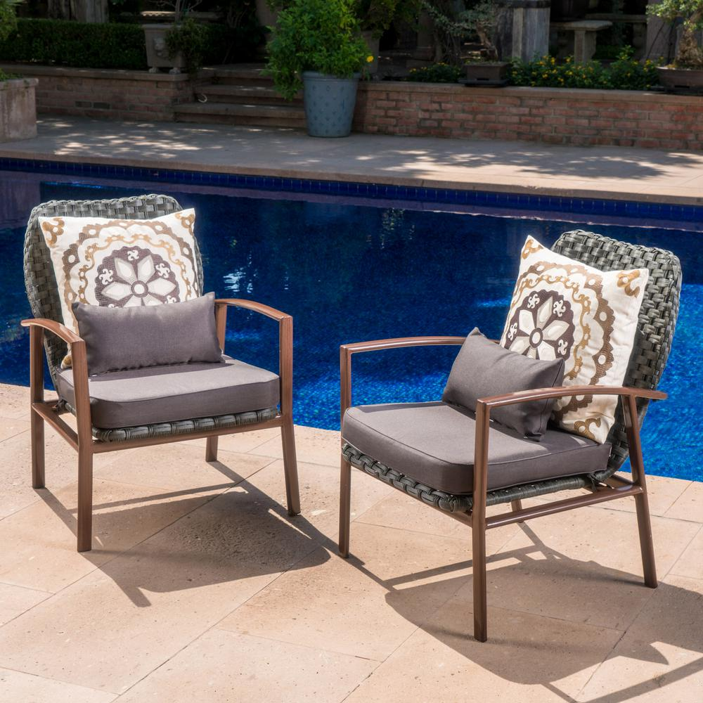 Noble House Everett Grey and Dark Brown Wicker Outdoor Lounge Chairs with Black Cushions (2-Pack)