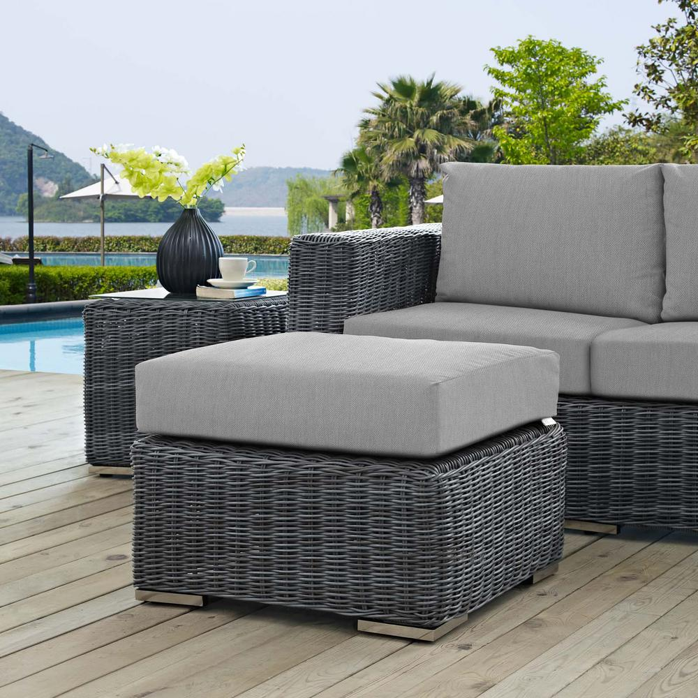 Summon Wicker Outdoor Patio Ottoman with Sunbrella Canvas Gray Cushion