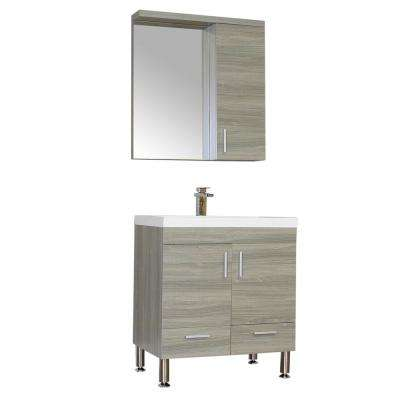 Ripley 29.37 in. W x 18.75 in. D x 33.37 in. H Vanity in Gray with Acrylic Vanity Top in White with White Basin