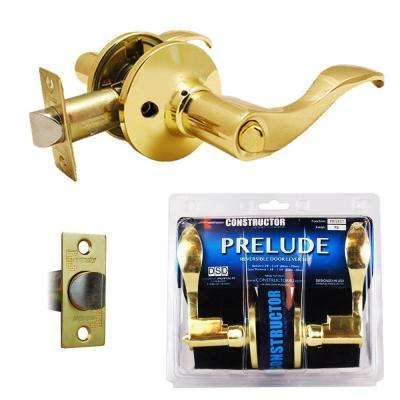 Polished Brass Prelude Privacy Bed/Bath Door Lever Lock Set