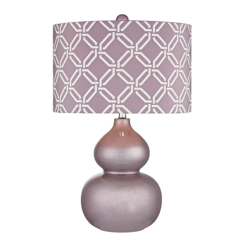 Ivybridge 22 in. Lilac Luster Ceramic Table Lamp