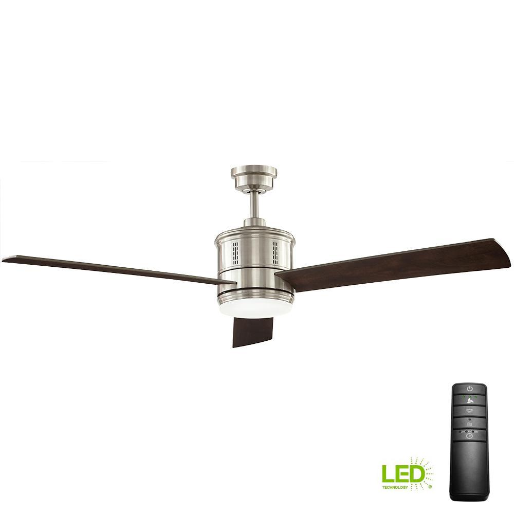 Gamali 60 in. LED Indoor Brushed Nickel Ceiling Fan with Light