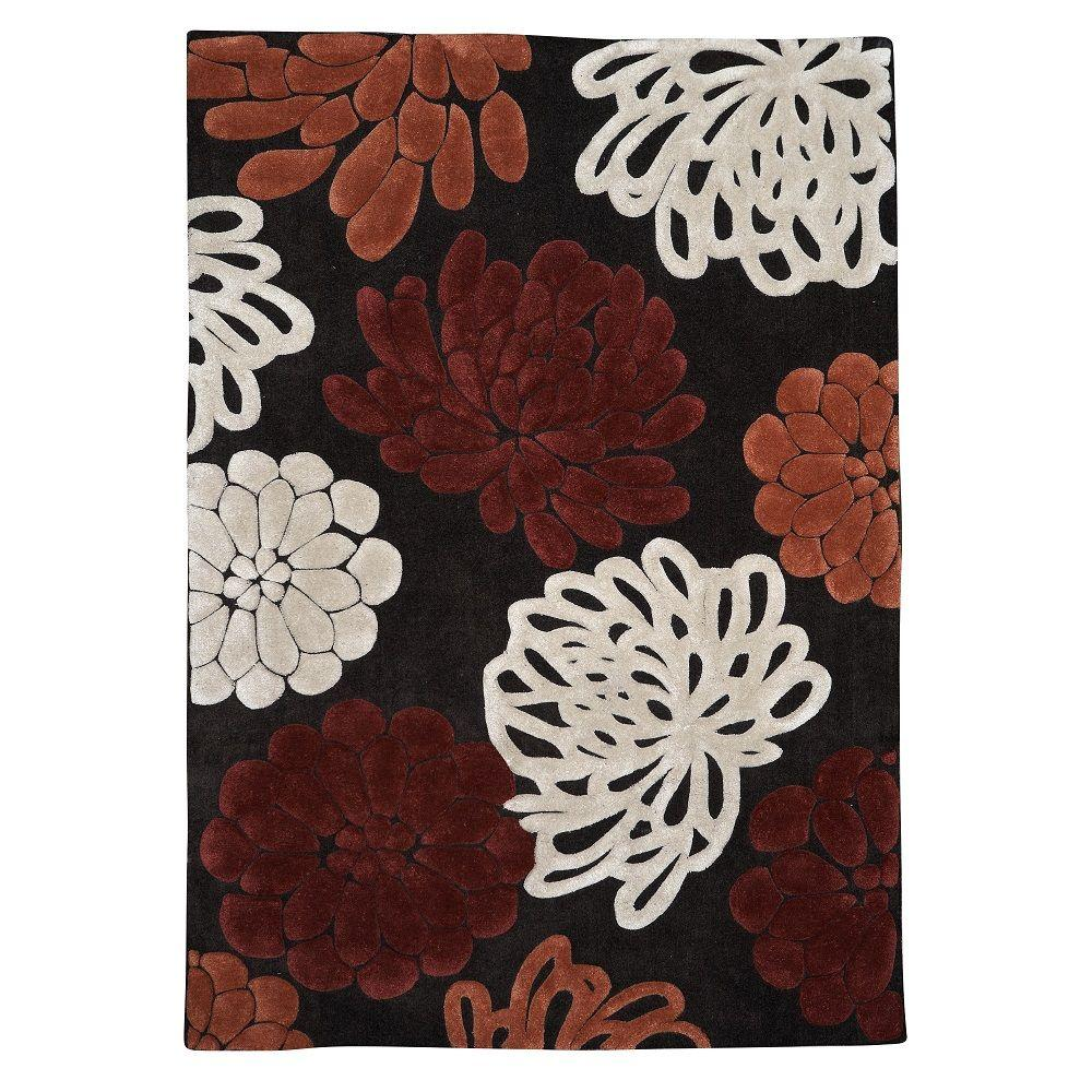 Trio Collection Chocolate and Garnet 5 ft. x 7 ft. Indoor
