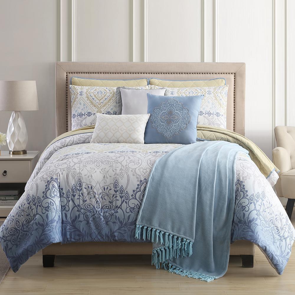 Dresden 10-Piece Multi-Color Queen Comforter/Coverlet Set