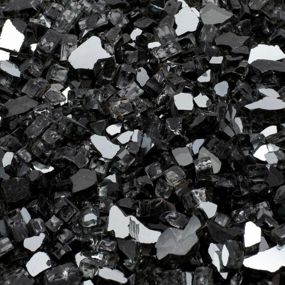 1/2 in. 25 lb. Medium Black Reflective Tempered Fire Glass