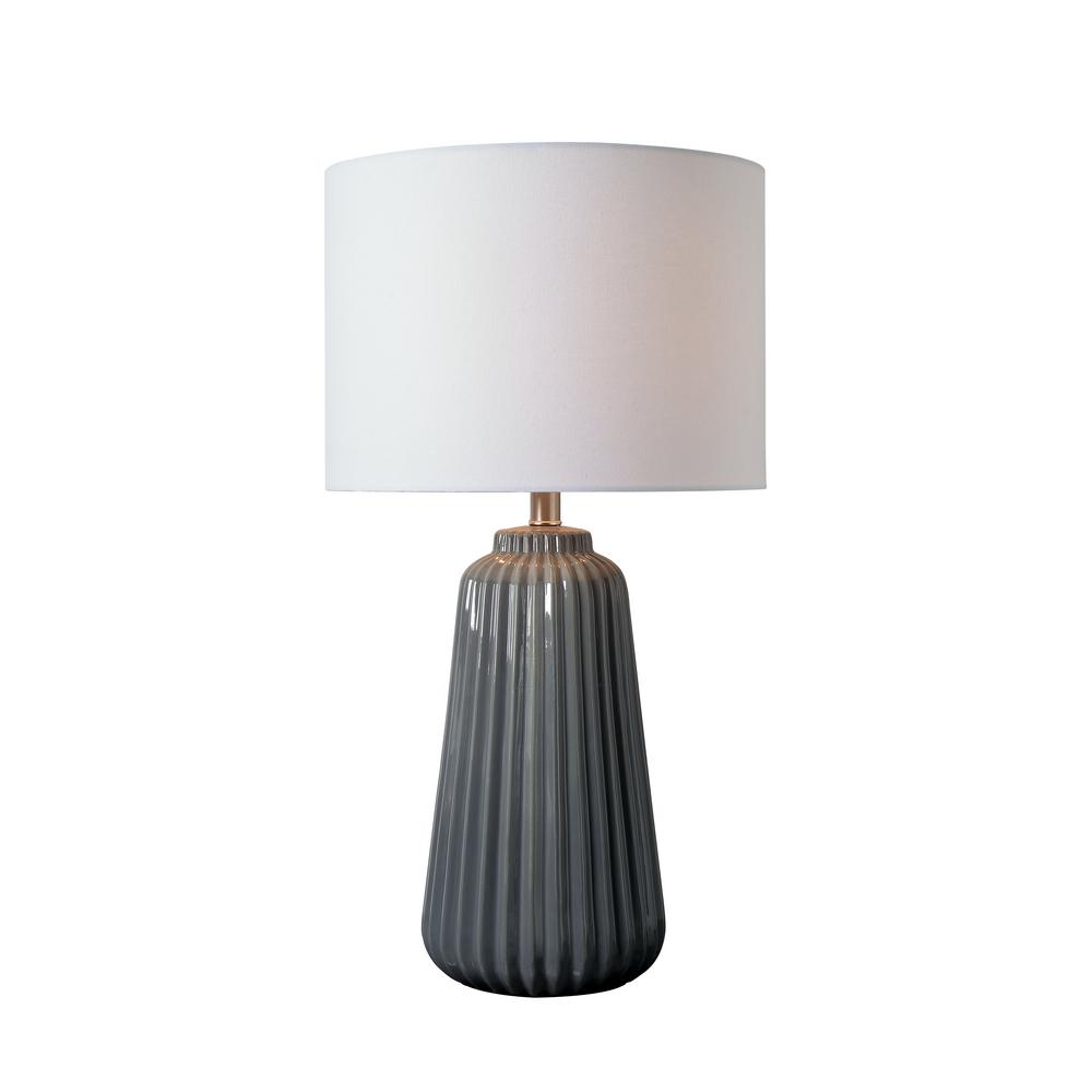 Kenroy Home Ziggy 26 in. Gray Table Lamp with White Linen Shade