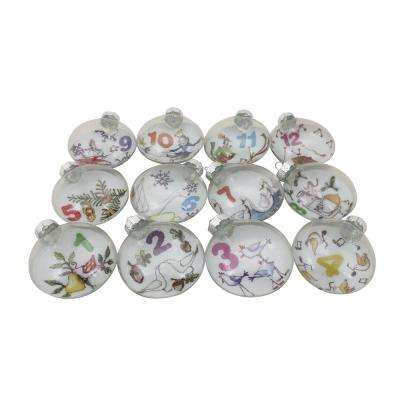 3 in. 12-Days of Christmas Glass Disc Holiday Ornaments (12-Count)