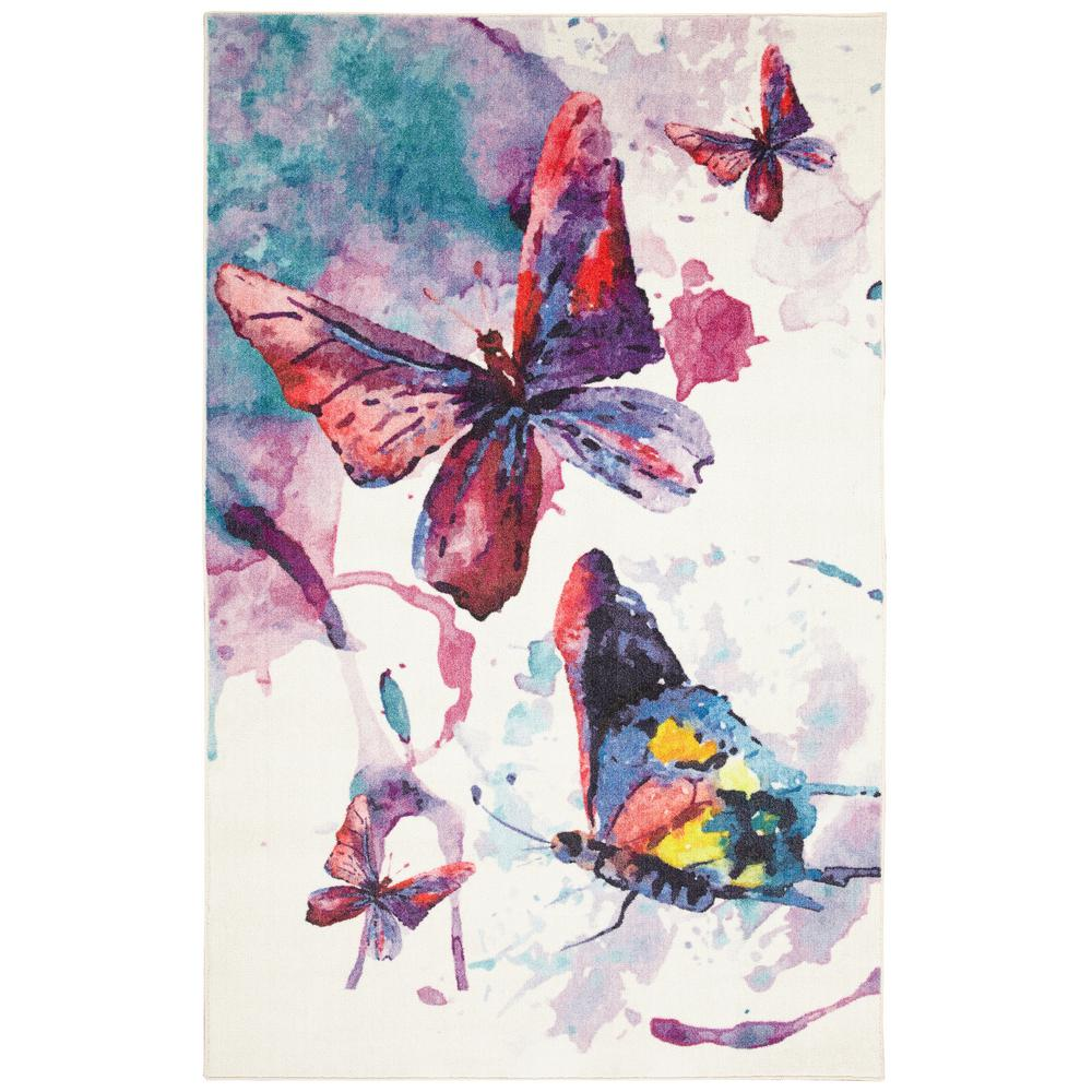 Mohawk Home Watercolor Butterflies Purple 5 Ft X 8 Ft Indoor Area Rug 049711 The Home Depot