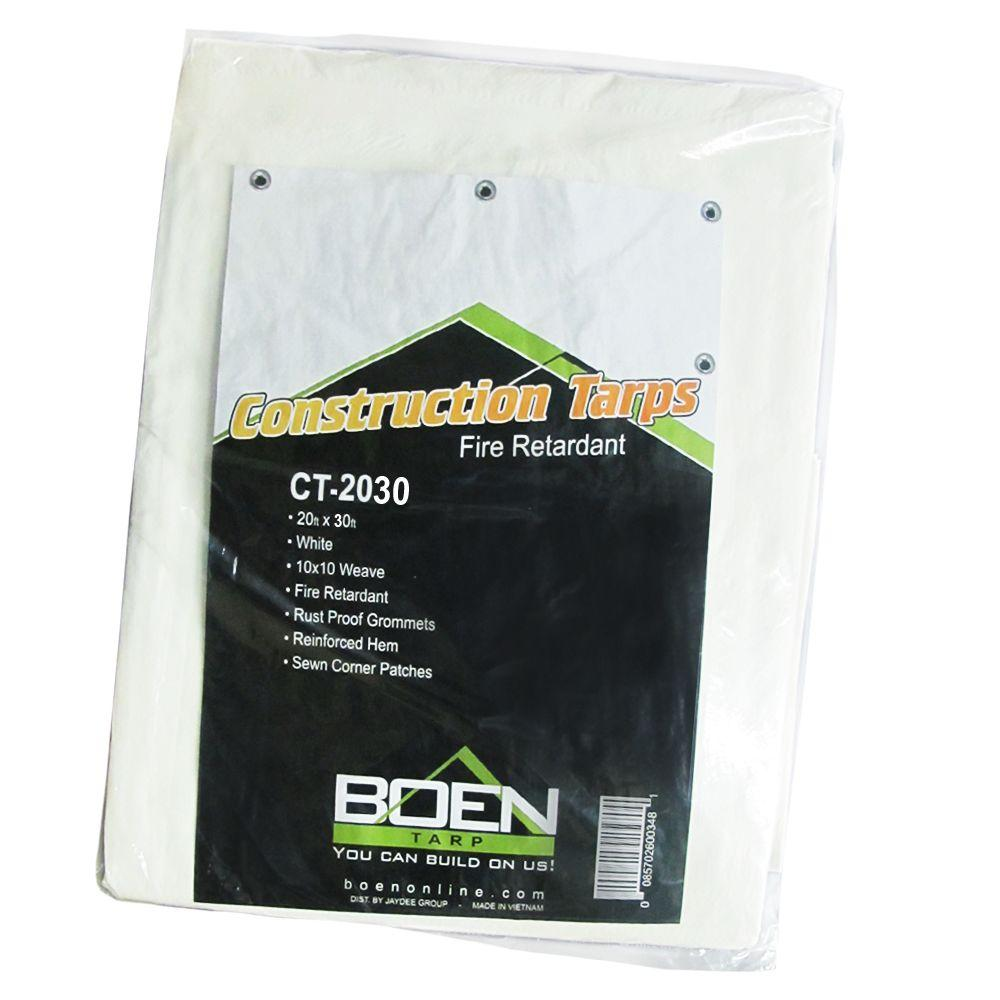 BOEN 20 ft. x 30 ft. White Fire Retardant Construction Tarp