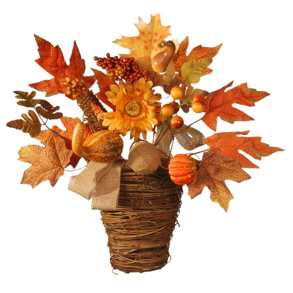 National Tree Company Harvest Accessories 16 in. Basket with Pumpkins and Maple