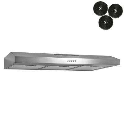 36 in. 58 CFM Convertible Under Cabinet Range Hood with Light in Brushed Stainless Steel