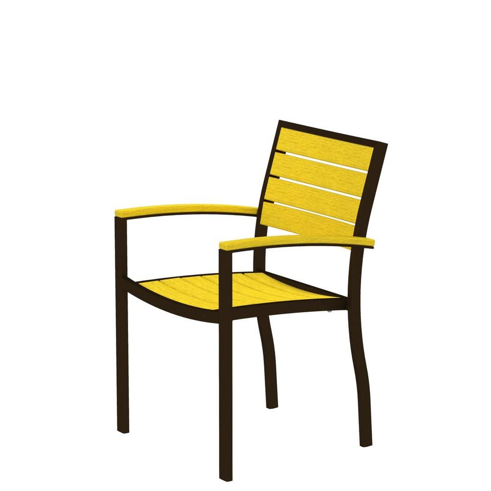 POLYWOOD Euro Textured Bronze All-Weather Aluminum/Plastic Outdoor Dining Arm Chair in Lemon Slats