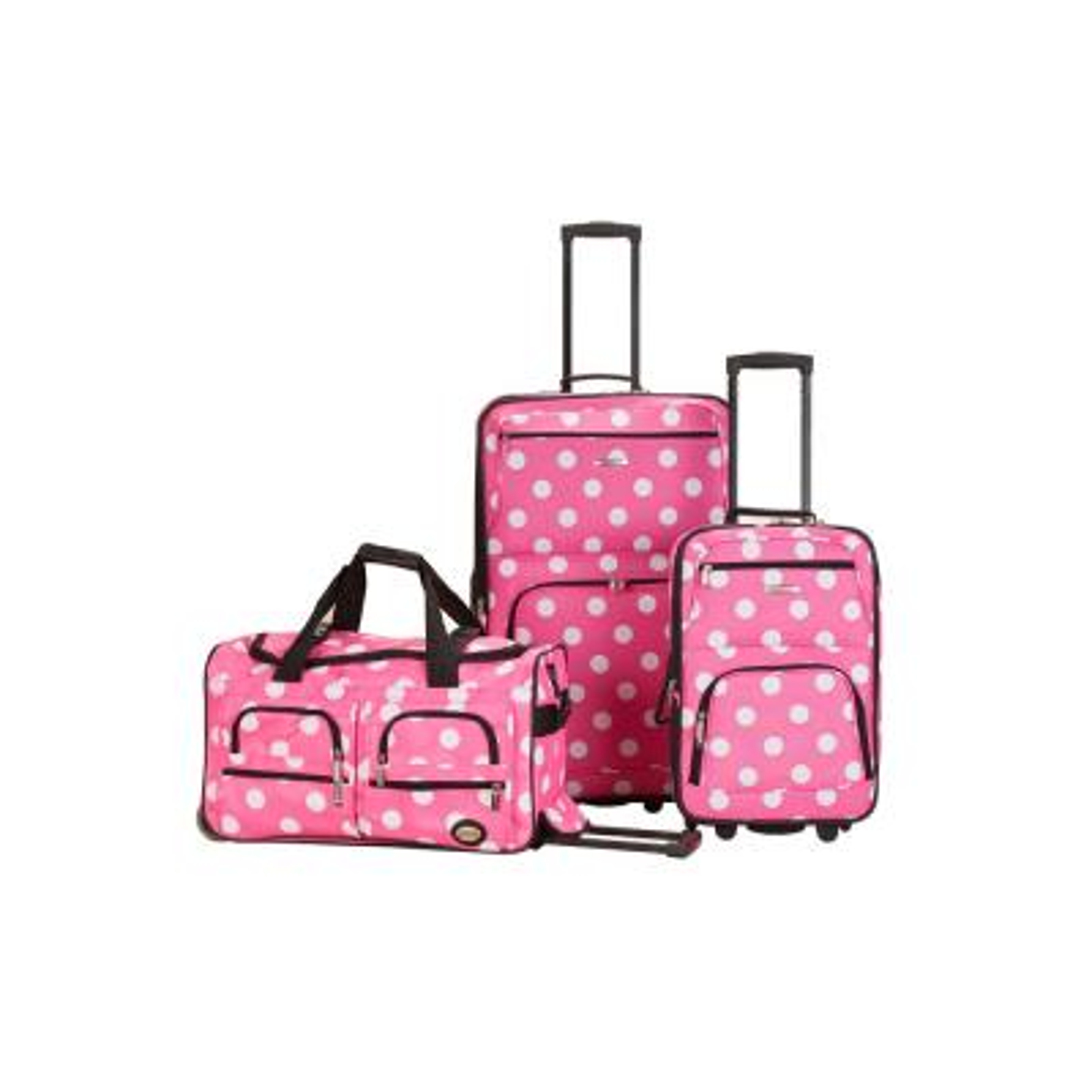 Rockland Expandable Spectra 3-Piece Softside Luggage Set, Pinkdot