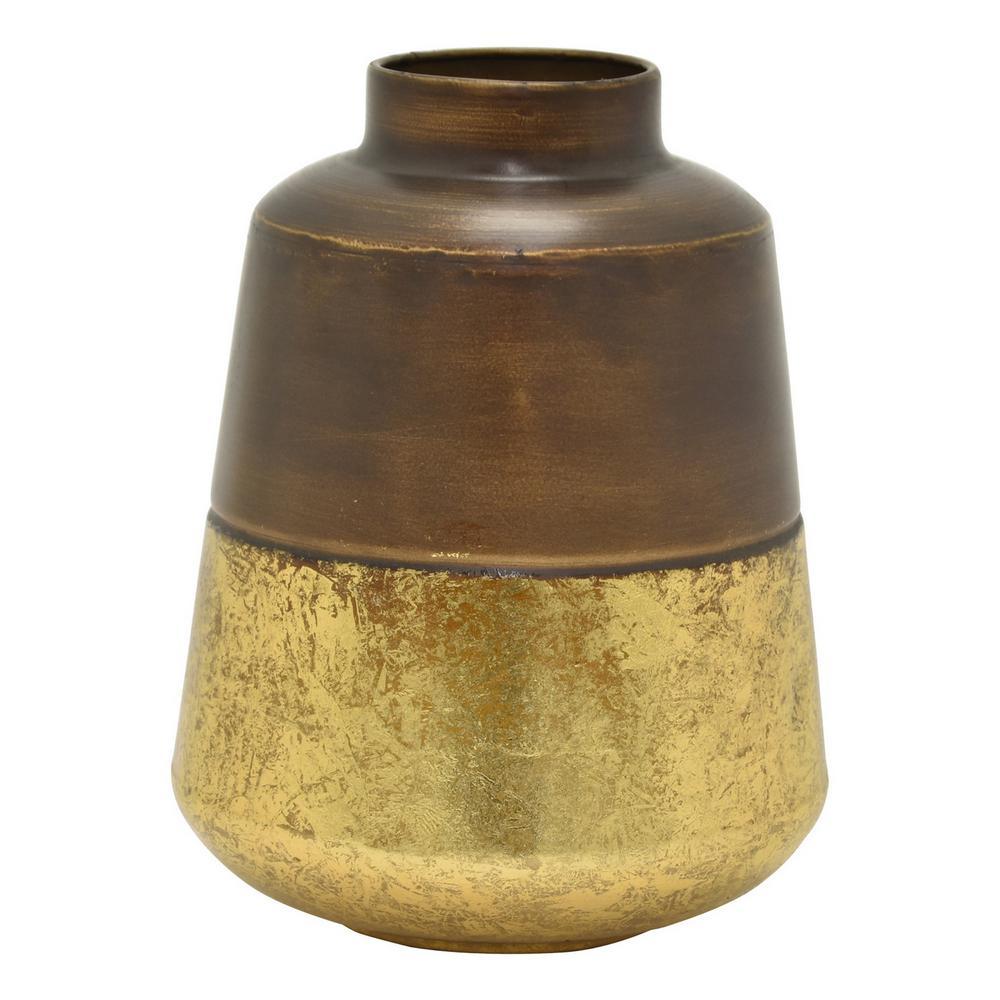 10.25 in. Brown Metal Vase