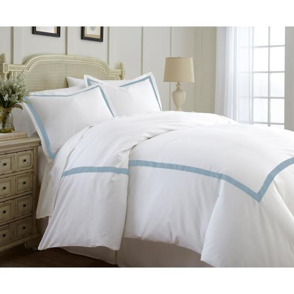 Amrapur Overseas 600-Thread Count 3-Piece Satin Ribbon Sterling Blue Queen Duvet