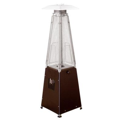 10,000 BTU Portable Hammered Bronze Glass Tube Propane Patio Heater