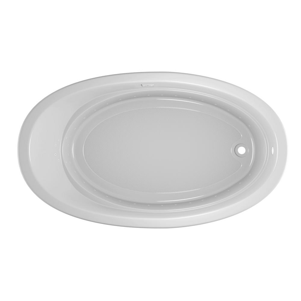 JACUZZI RIVA PURE AIR 72 in. x 42 in. Acrylic Right-Hand Drain Oval Drop-In Air Bath Bathtub in White