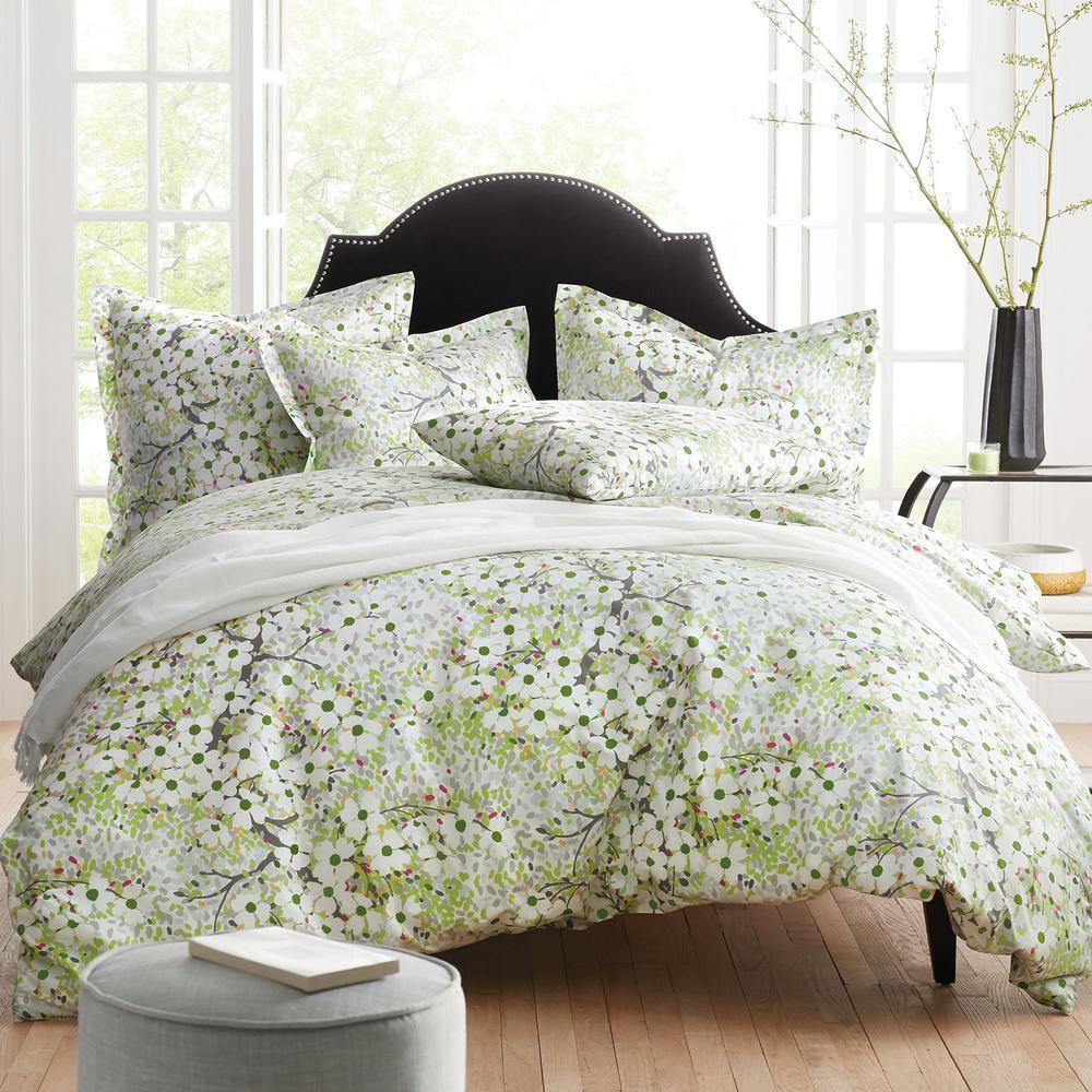 The Company Store Dogwood Multi Cotton Percale Queen Duvet Cover 50368D-Q-MULTI