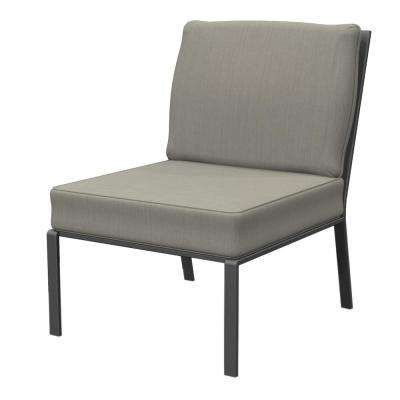 Granbury Metal Armless Middle Outdoor Sectional Chair with Fossil Cushion