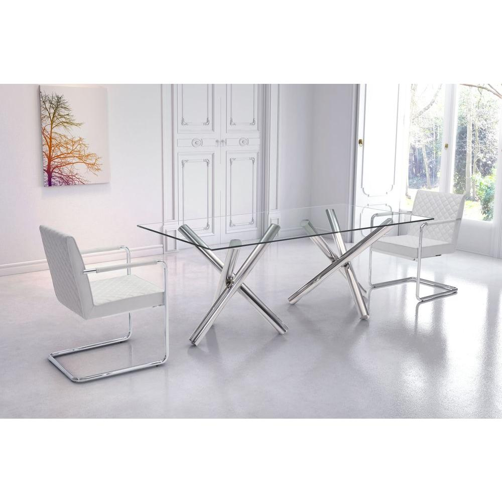 rectangular glass dining table ZUO Stant Chrome Dining Table 100351   The Home Depot rectangular glass dining table