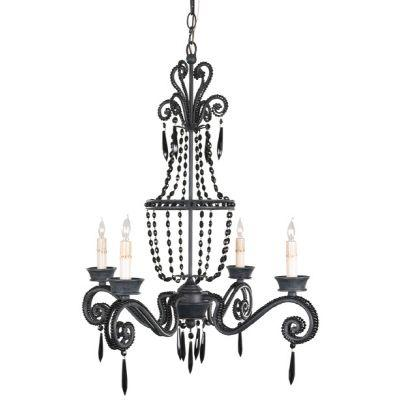 null St. Charles 4 Light Chandelier, Black-DISCONTINUED