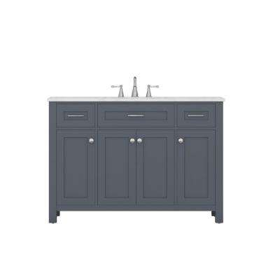 Norwalk 48 in. W x 34.2 in. H x 22 in. D Vanity in Gray with Marble Vanity Top in White with White Basin