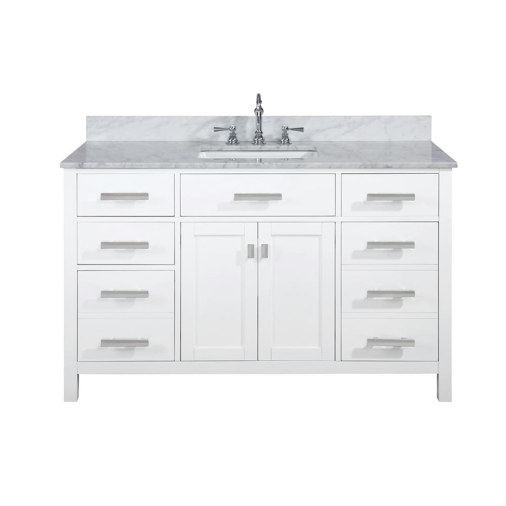 Valentino 54 in. W x 22 in. D Bath Vanity in White with Carrara Marble Vanity Top in White with White Basin